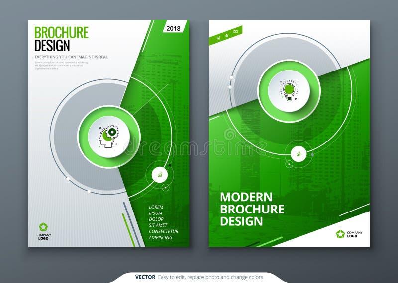 Sistema de la cubierta Plantilla verde para el folleto, la bandera, el plackard, el cartel, el informe, el catálogo, la revista,  stock de ilustración