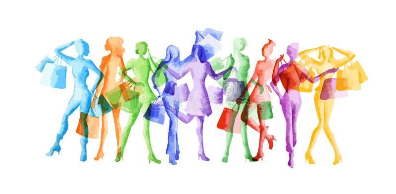 Sistema de la danza de la acuarela stock de ilustración