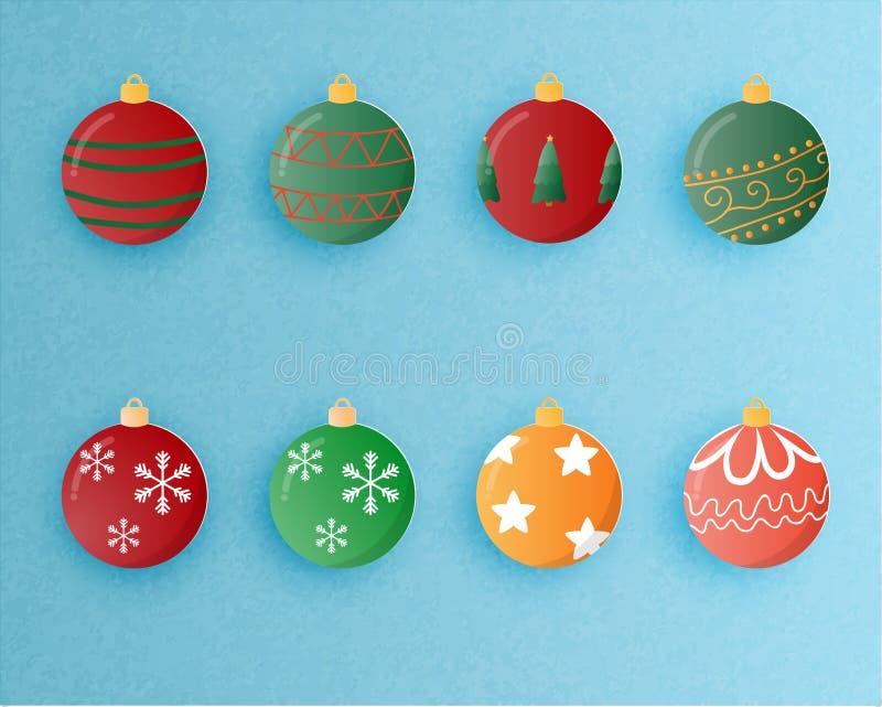 Sistema de la decoración de la bola de la Navidad en el estilo cortado de papel Ilustraci?n del vector ilustración del vector