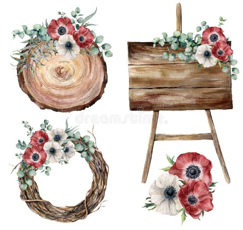 Sistema de la decoración del partido de la acuarela Hojas y brznches pintados a mano, anémonas, plantas, guirnalda del árbol, de  libre illustration