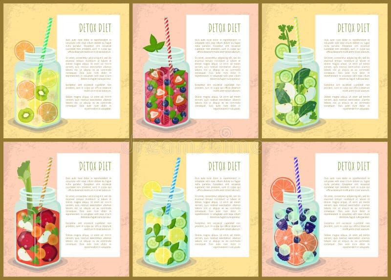 Sistema de la dieta del Detox de bebidas jugosas de los carteles de frutas libre illustration