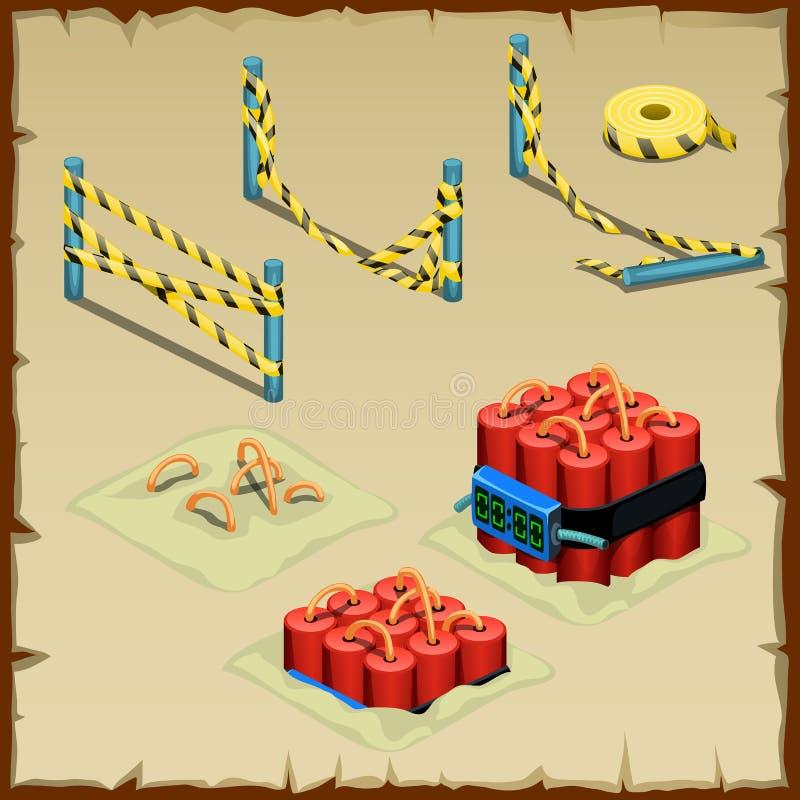 Sistema de la dinamita y de la cinta de la policía stock de ilustración