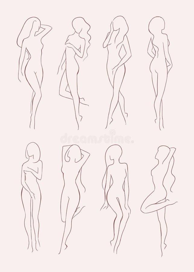 Sistema de la diversa silueta desnuda de la mujer Muchacha de pelo largo hermosa en diversas actitudes Ilustración drenada mano d stock de ilustración