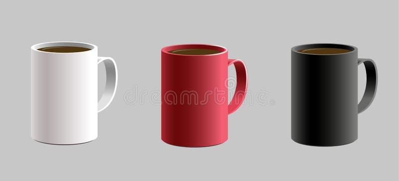 Sistema de la diversa taza formada de la taza para el caffe caliente de la bebida 3d realista detallado con la sombra Color blanc libre illustration
