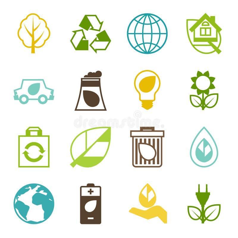 Sistema de la ecología de iconos del ambiente y de la contaminación libre illustration