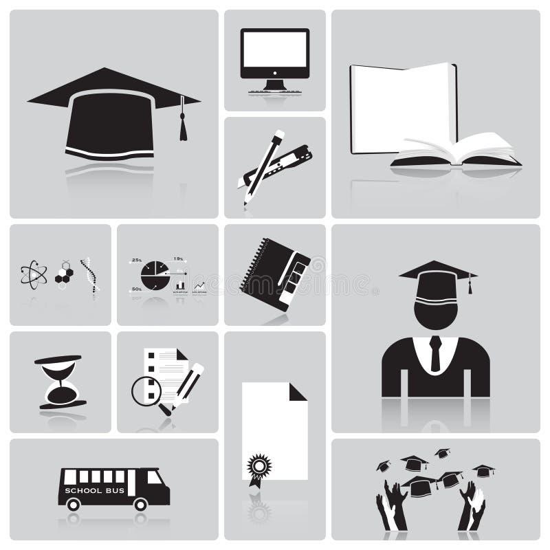 Sistema de la educación y del icono de la graduación stock de ilustración