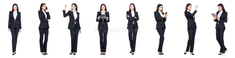 Sistema de la empresaria hermosa, atractiva aislada en blanco Negocio, concepto del éxito de la carrera imagen de archivo