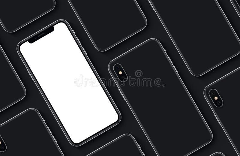 Sistema de la endecha plana de la opinión superior de los lados delanteros y traseros del modelo de la maqueta de los smartphones libre illustration