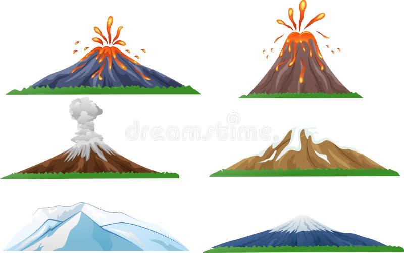 Sistema de la erupción del volcán de la historieta stock de ilustración