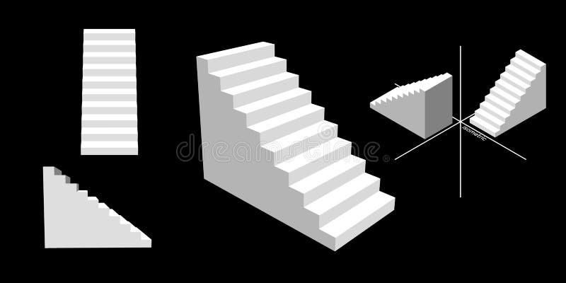 Sistema de la escalera Aislado en fondo negro ilustración del vector 3d stock de ilustración