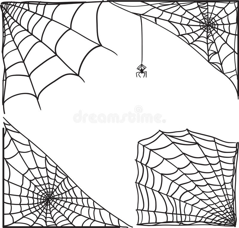 Sistema de la esquina del web de araña stock de ilustración