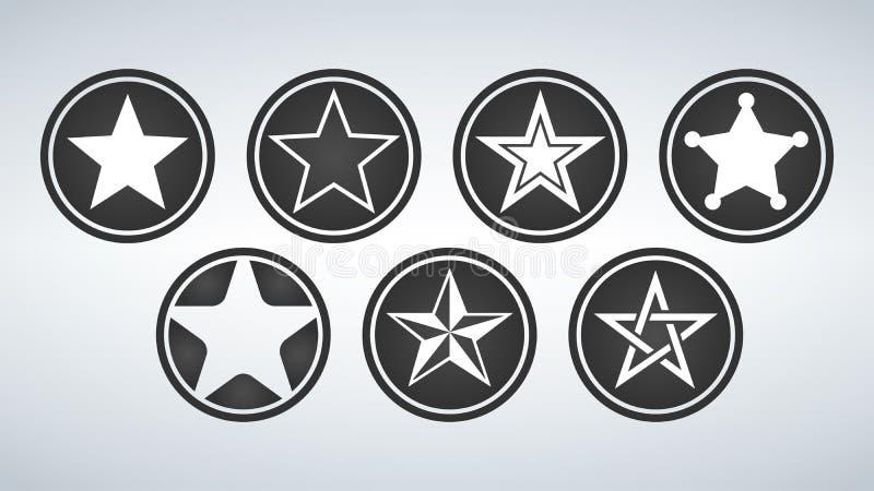 Sistema de la estrella blanca en el círculo negro Iconos Ejemplo del vector aislado en fondo moderno libre illustration