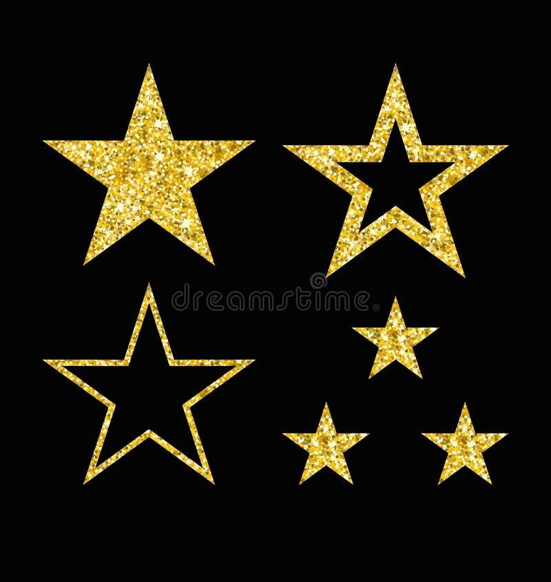 Sistema de la estrella del oro en negro ilustración del vector