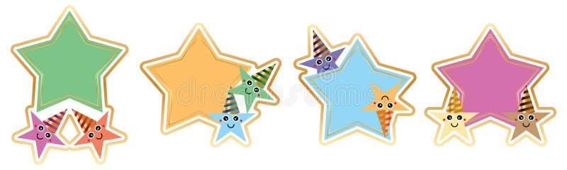 Sistema de la estrella de la etiqueta engomada del sombrero del desgaste de la estrella del partido ilustración del vector