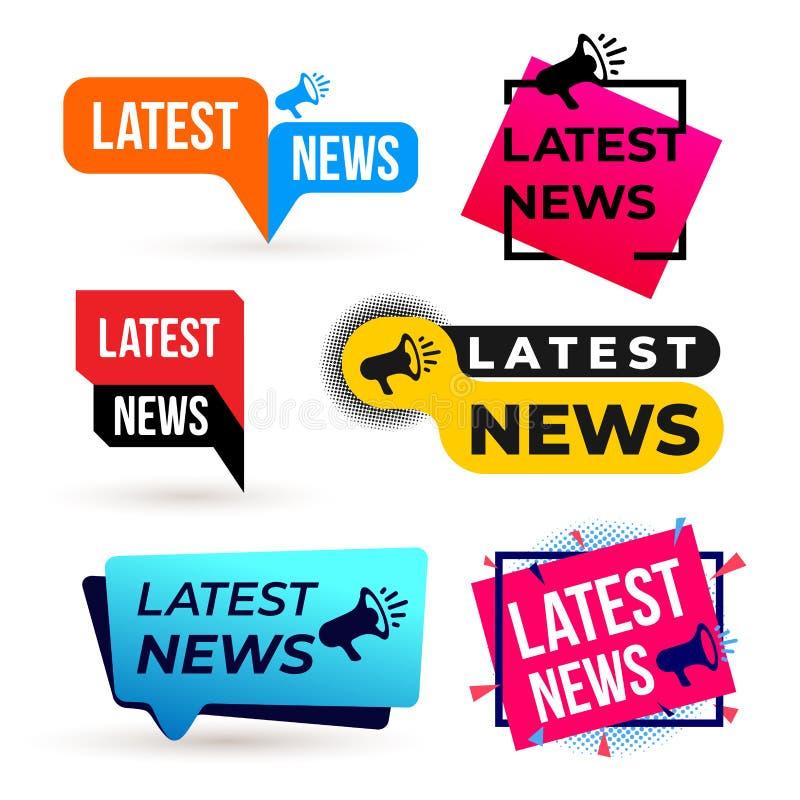 Sistema de la etiqueta colorida del último megáfono de las noticias Ilustración del vector Aislado en el fondo blanco ilustración del vector