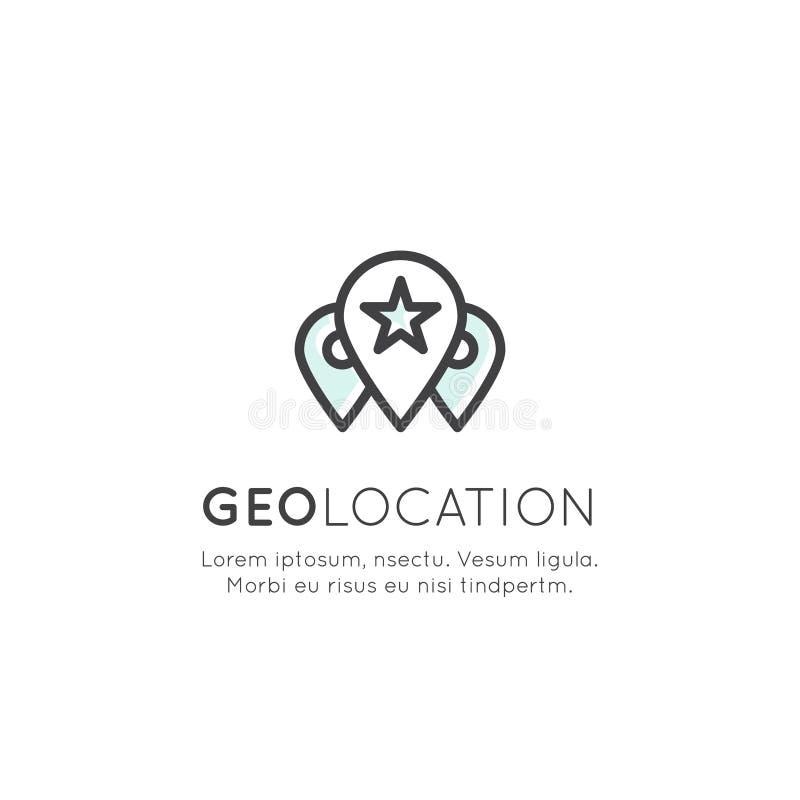 Sistema de la etiqueta de la ubicación de Geo, márketing de la proximidad, conexión de red global, identificación de la ubicación ilustración del vector