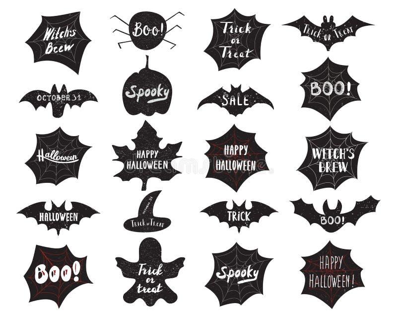 Sistema de la etiqueta de las capas de Halloween stock de ilustración