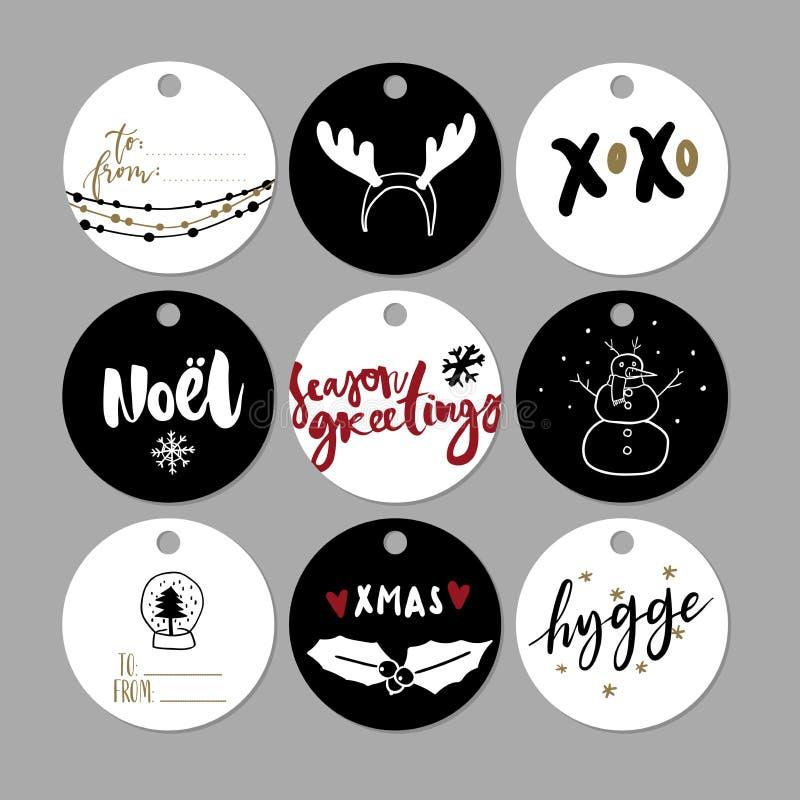 Sistema de la etiqueta del regalo de la Navidad del garabato Iconos lindos dibujados mano del vector Estilo escandinavo imprimibl stock de ilustración