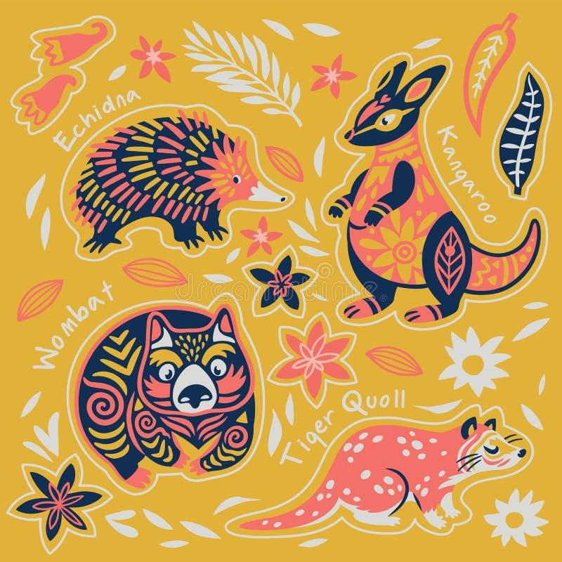 Sistema de la etiqueta engomada de animales australianos decorativos Ilustraci?n del vector libre illustration