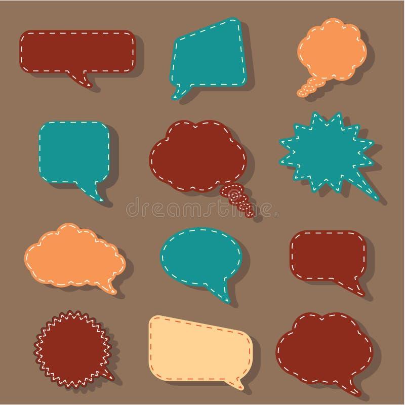 Sistema de la etiqueta engomada de la etiqueta de las burbujas del discurso, fondo del diálogo de la charla ilustración del vector