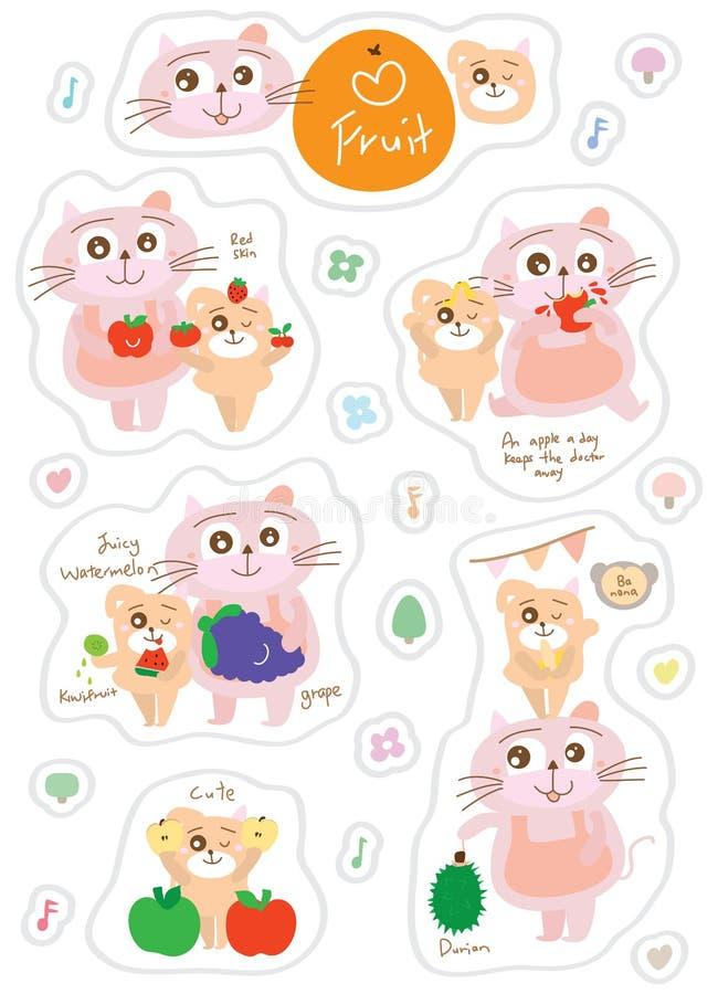 Sistema de la etiqueta engomada de la fruta del carácter del perro del gato ilustración del vector