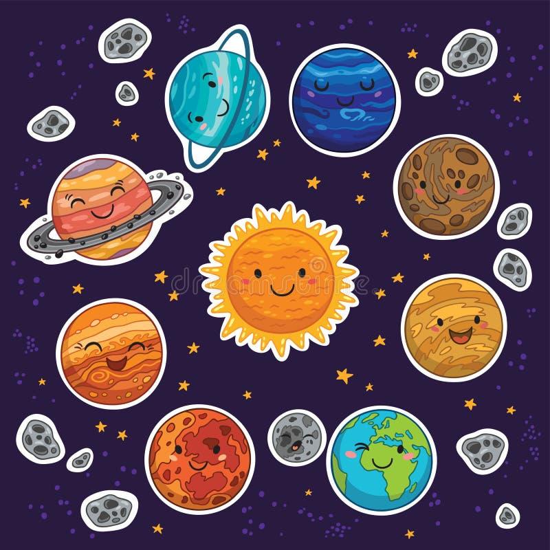 Sistema de la etiqueta engomada de la Sistema Solar con los planetas de la historieta ilustración del vector
