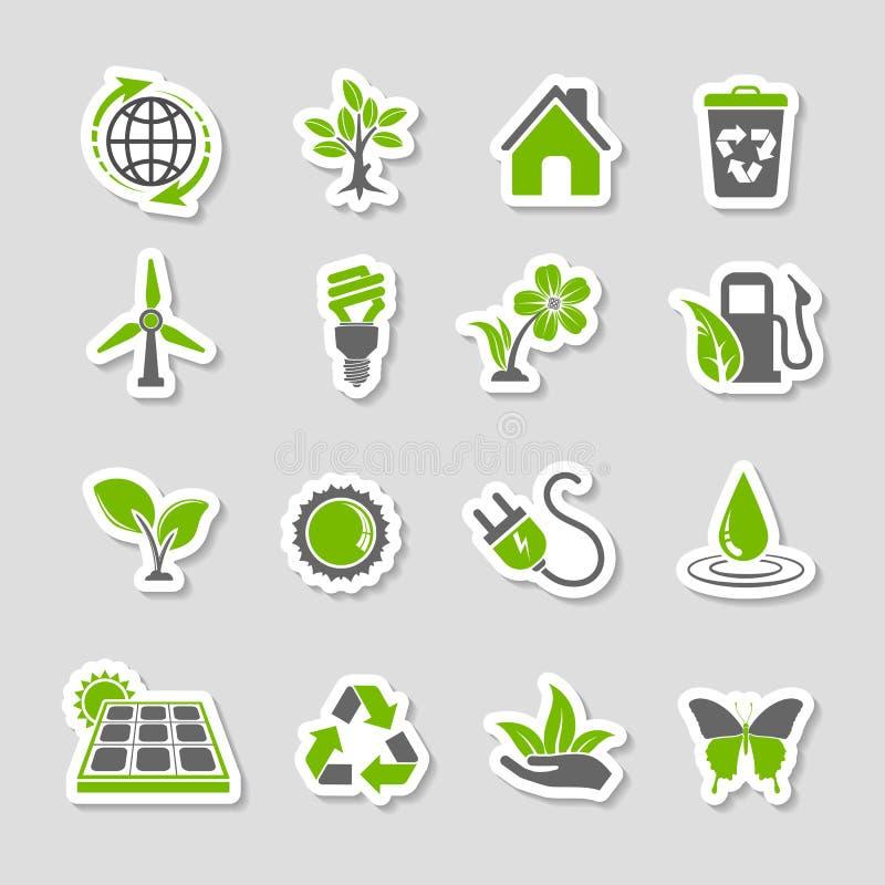 Sistema de la etiqueta engomada de los iconos del ambiente stock de ilustración