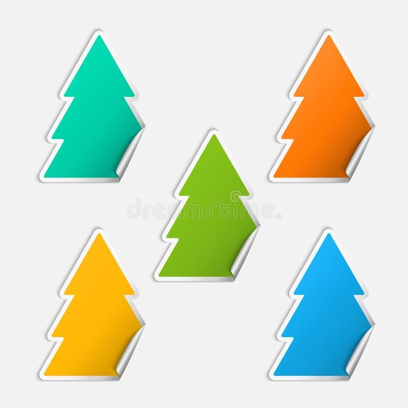 Sistema de la etiqueta engomada del árbol de navidad stock de ilustración