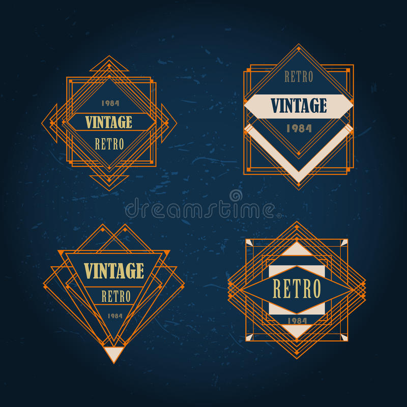 Sistema de la etiqueta geométrica del vintage del art déco stock de ilustración
