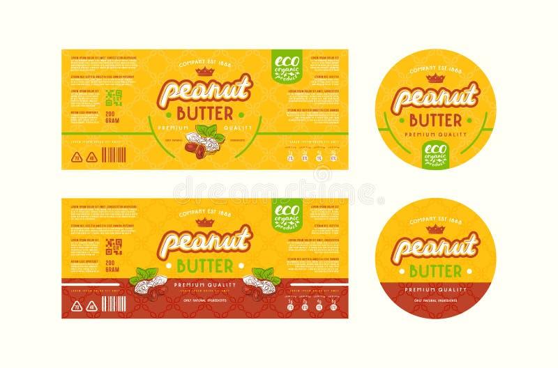 Sistema de la etiqueta de las plantillas para la mantequilla de cacahuete libre illustration