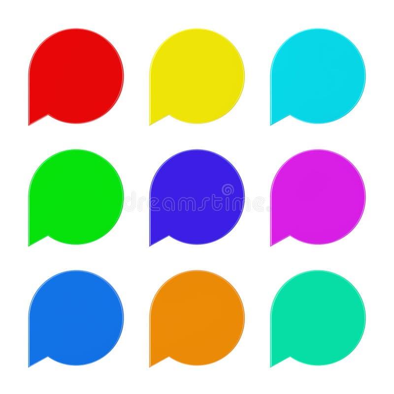 Sistema de la etiqueta multicolora en blanco de la etiqueta de la burbuja del discurso representación 3d stock de ilustración