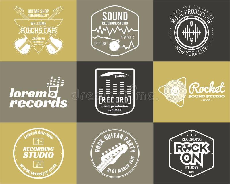 Sistema de la etiqueta musical del logotipo de la producción de la música del vector libre illustration