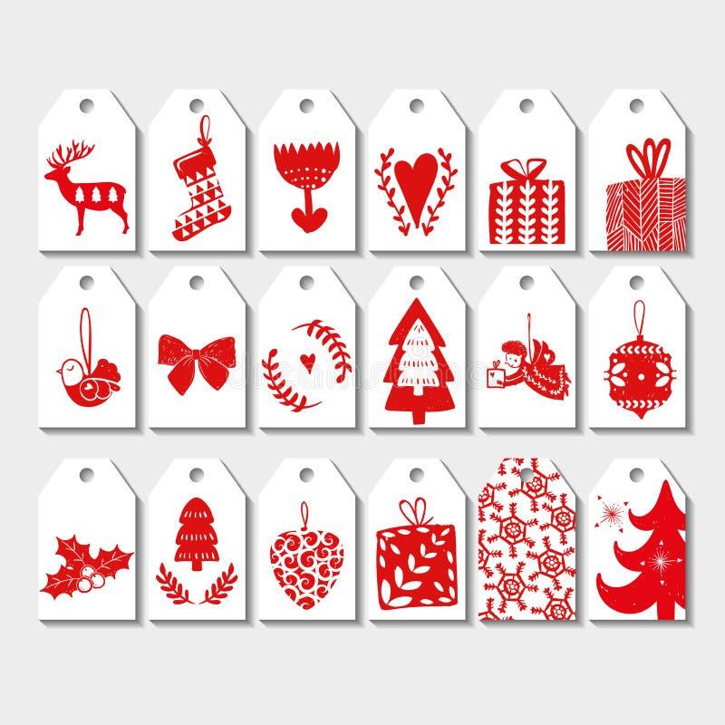 Sistema de la etiqueta de la Navidad 8 Conjunto de la tarjeta de Navidad Ilustración del vector Plantilla para las tarjetas de sa ilustración del vector