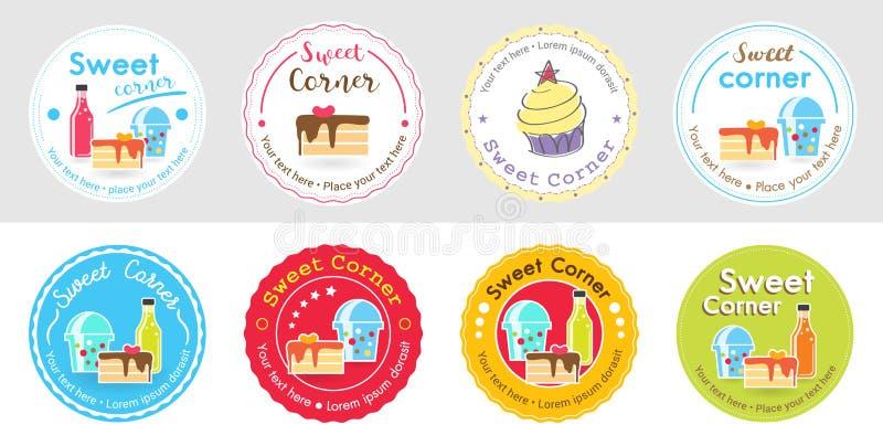 Sistema de la etiqueta y del logotipo dulces lindos de la insignia de la panadería para la etiqueta engomada stock de ilustración