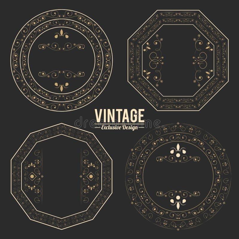 Sistema de la exclusiva del vintage de insignias y de etiquetas engomadas de oro de lujo flourishes reales libre illustration