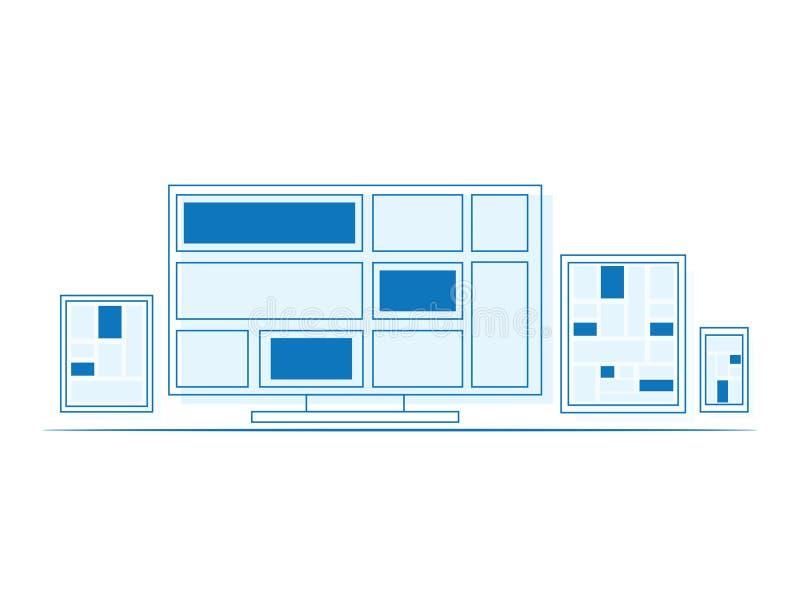 Sistema de la exhibición, del ordenador portátil, de la tableta y de mobil del diseño del esquema ilustración del vector