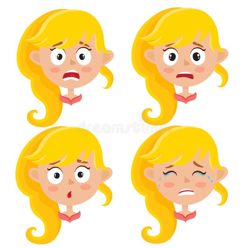 Sistema de la expresión asustada muchacha rubia de la cara aislado en blanco libre illustration