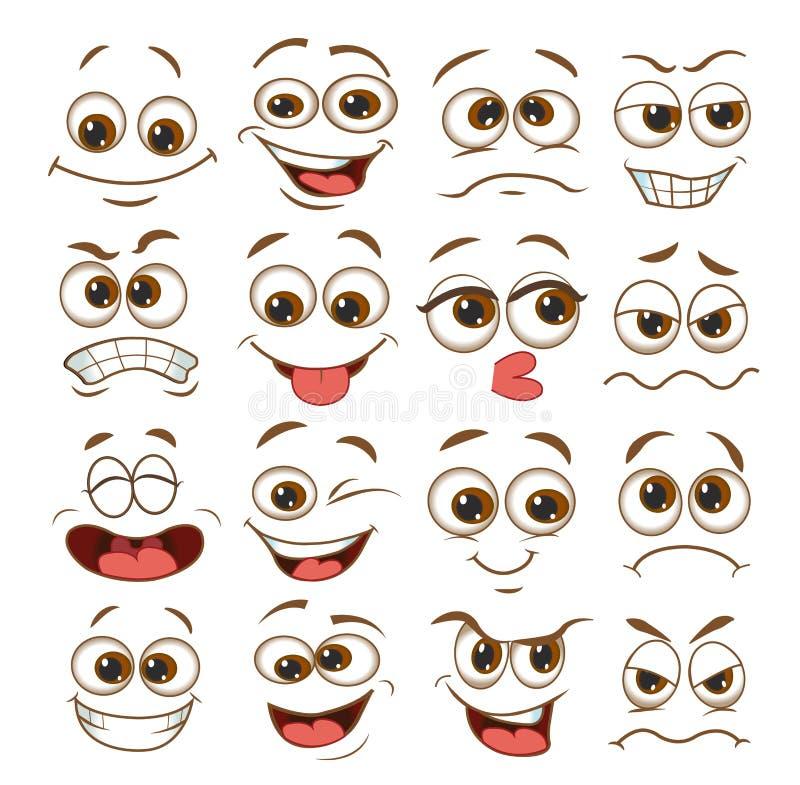 Sistema de la expresión de la cara historieta del emoticon del ejemplo del vector libre illustration