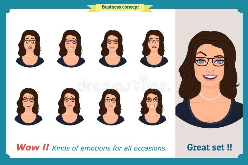 Sistema de la expresión de la mujer aislado Cabeza femenina emocional linda Empresaria libre illustration