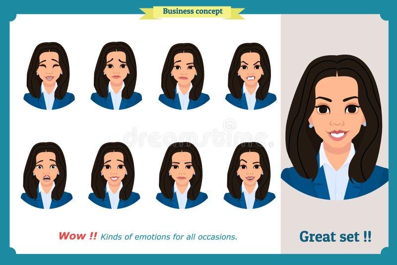 Sistema de la expresión de la mujer aislado Retratos jovenes de la emoción Diseño plano Carácter de la empresaria stock de ilustración