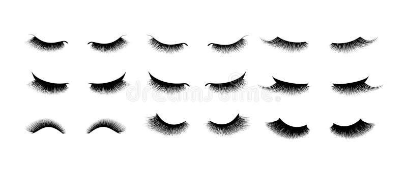 Sistema de la extensión de la pestaña Pestañas largas negras hermosas Ojo cerrado Cilios falsos de la belleza Efecto natural del  libre illustration