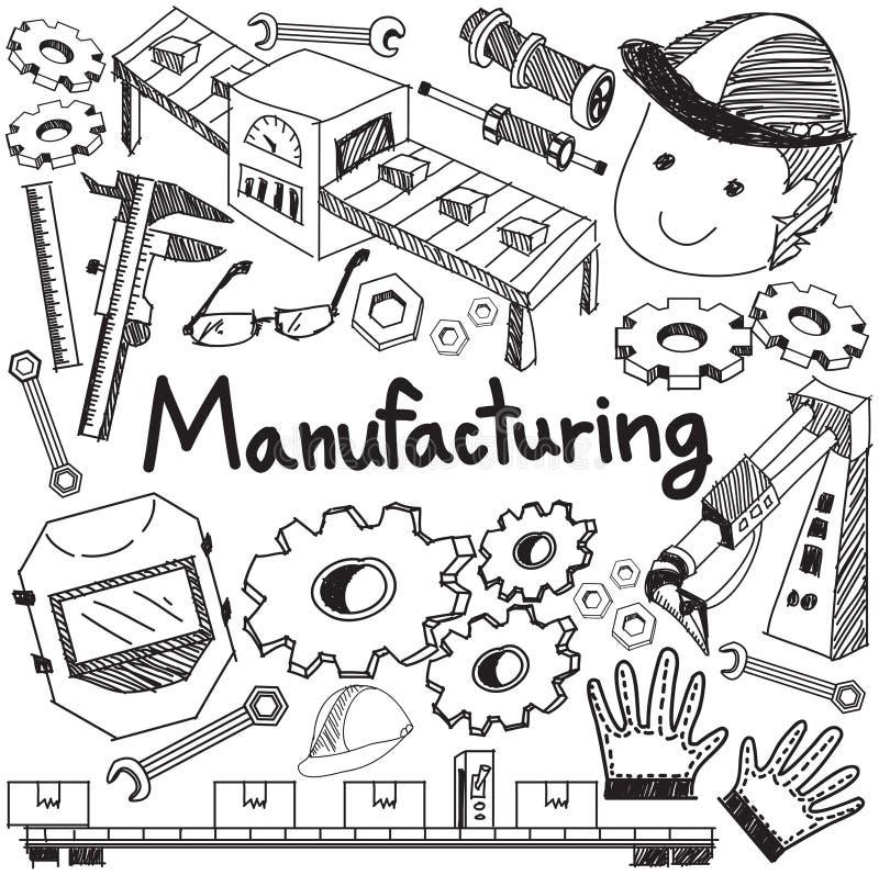 Sistema de la fabricación y de la operación en assembl de la producción de la fábrica stock de ilustración