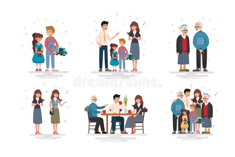 Sistema de la familia feliz, ejemplo de diversas familias de los grupos ilustración del vector