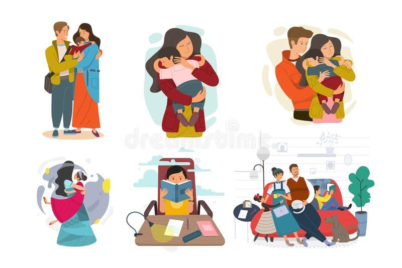 Sistema de la familia feliz, ejemplo de diversas familias de los grupos stock de ilustración