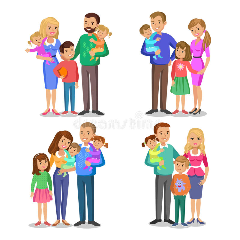Sistema de la familia típica en amor Retrato feliz de la familia ilustración del vector