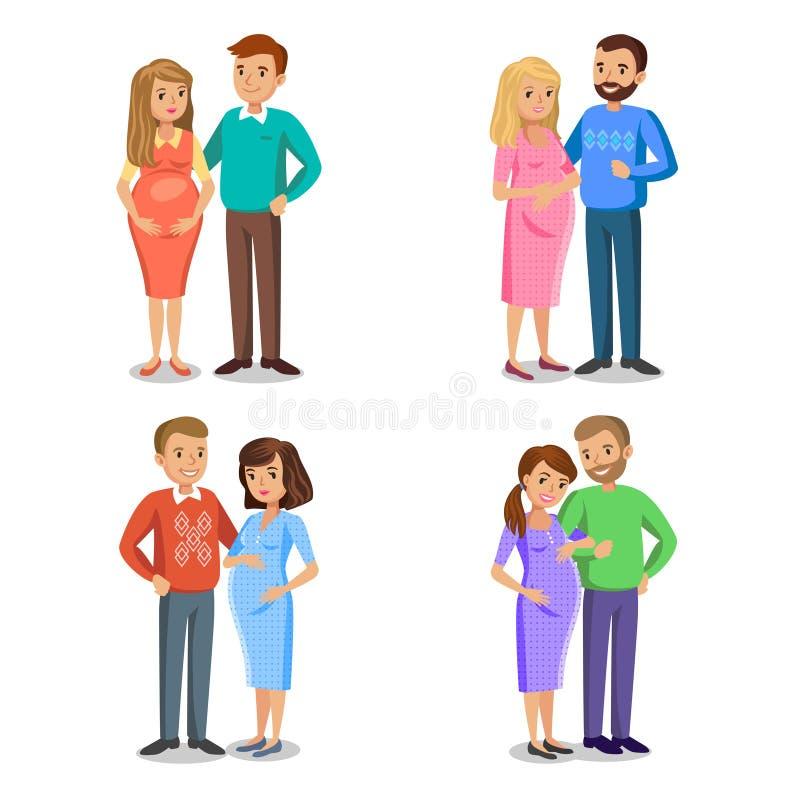 Sistema de la familia típica en el amor, padres expectantes, mujer embarazada libre illustration