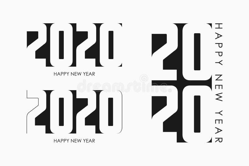 Sistema de la Feliz Año Nuevo 2020 de banderas del texto Diseño de tarjeta minimalista del día de fiesta por Año Nuevo y la Navid stock de ilustración