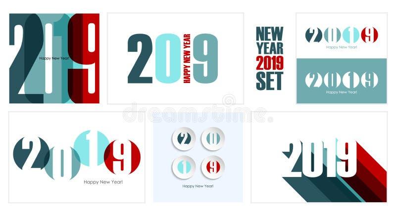 Sistema de 2019 de la Feliz Año Nuevo tarjetas del día de fiesta Diseño creativo para los saludos y las invitaciones del día de f stock de ilustración