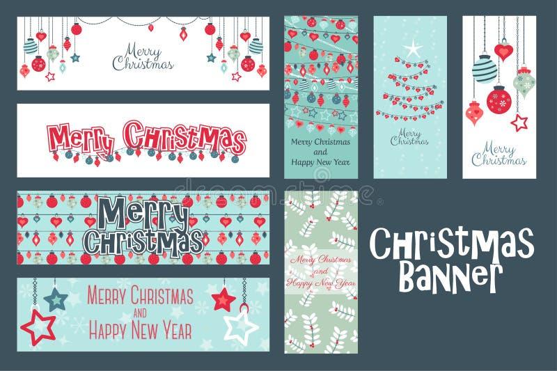 Sistema de la Feliz Navidad de bandera del web y de plantillas de las tarjetas stock de ilustración