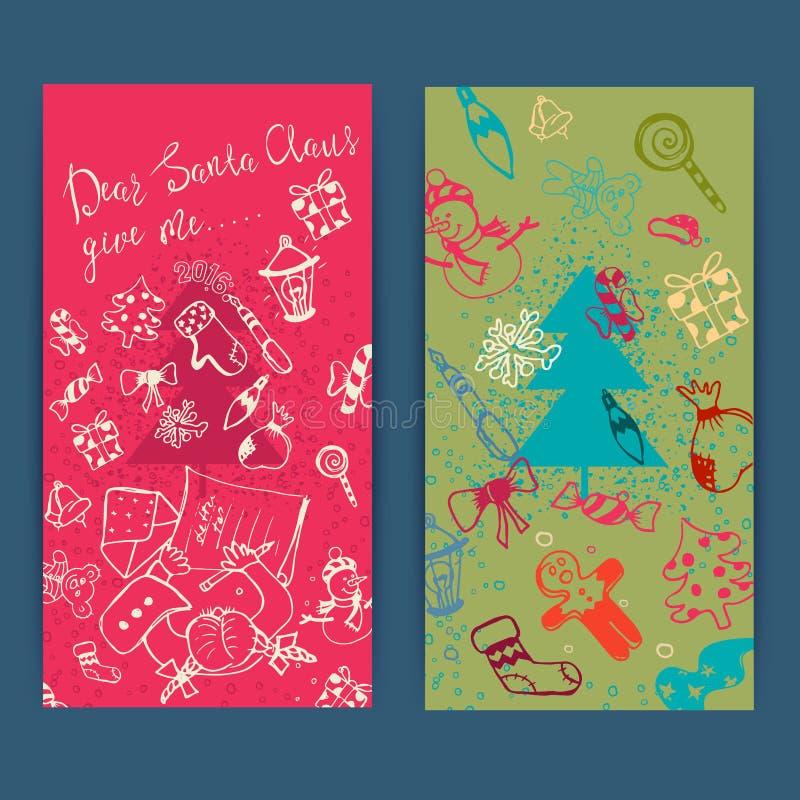 Sistema de la Feliz Navidad de tarjetas de felicitación de Navidad libre illustration